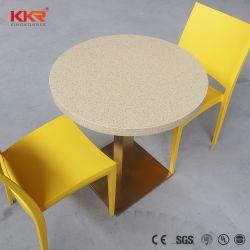 مائدة مستديرة KKR طعام سريع منضدة سطحية صلبة من الحجر الصناعي سطح طاولة رخامية للمطعم
