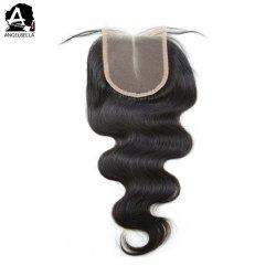Angelbella 4x4 Natural Black Closures Synthetic Body Wave Virgin Human Hair Afsluitstuk
