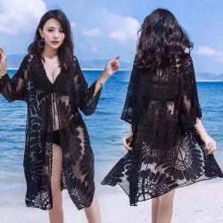 Nova América Rendas Oco protectores solares mulheres camisas de malha Casual Cardigan vestido de praia no Verão