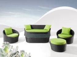 Canapé confortable coussin vert et noir Set de meubles en rotin