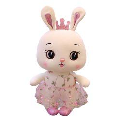 레이스 치마 견면 벨벳을%s 가진 귀여운 토끼는 연약한 채워진 인형을