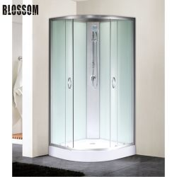 浴室の引き戸が付いている角の簡単なガラスシャワー室の小屋