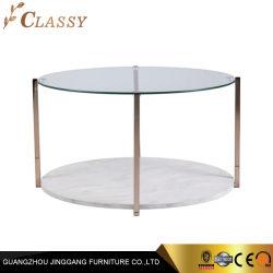 Luxury Home Sala rodada dupla de vidro de mesa e mesa de café em mármore com estrutura metálica