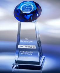 Blue Diamand Crystal Award Troféu com gravação a laser 3D para a concorrência