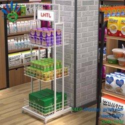 3 Strati Supermarket Metal Shelves Display Con Ruote Per La Promozione