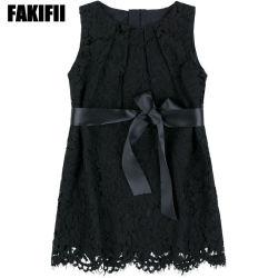 Usine OEM/ ODM Bébé Vêtements Enfants d'usure de l'été fille fashion robe dentelle noir Hot Sale Kid Vêtements