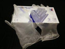 Одноразовые удалите белые виниловые перчатки для продовольственной службы с присыпкой