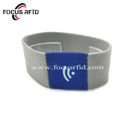 Pulsera de tejido elástico NFC RFID colorido de la muñequera elástica NFC Tyvek Pulsera de papel