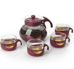 Théière en verre et d'ensemble de la Coupe du plastique et verre clair pot en verre de thé le thé ensemble