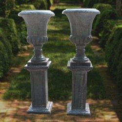 Urna de mármol verde talladas a mano con la base para la decoración de jardín