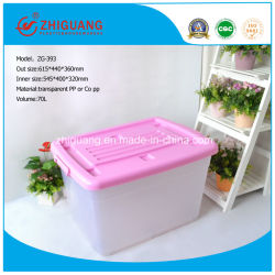 Hotsale colorido de la capacidad de Servicio Pesado Caja de almacenamiento de material plástico de polipropileno bandejas de plástico con asas y ruedas para el hogar de almacenamiento de paquete (15 litros a 150 litros)