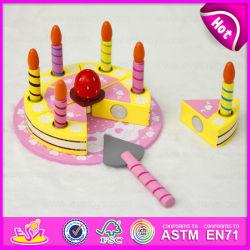Bricolaje 2015 juguete de madera de corte de tarta con velas, desempeñar el papel de pastel de juguete para niños, juguetes de Chico para regalo de cumpleaños, tortas de Sectile W10b116