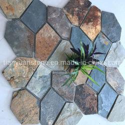 Irregulares natural de lajas de pizarra con malla para pavimentación