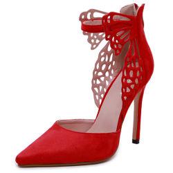 Mayorista de Ladys Fábrica de zapatos Negro Rojo Sexy Mariposa zapatos de tacón de 11cm de altura y se viste de fiesta