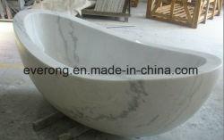 自然で白い大理石の磨かれた簡単な楕円形の浴室の石の浴槽