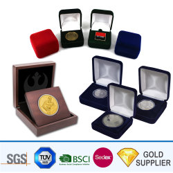 Venta al por mayor fabricante de madera elegante personalizada Medallón de la medalla de la pantalla de moneda Caja de regalo de envases de almacenamiento de ornamento Joyas de la caja de terciopelo para el recuerdo