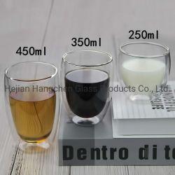 두껍게 한 두 배 층 컵 일본 사무실 컵 우유 차 커피 잔 관례 선물을%s 가진 방열 두 배 층 색깔 유리제 컵