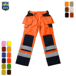 Pantaloni alla moda del carico dell'alto di visibilità cotone riflettente del nastro