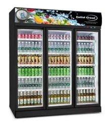 La mercancía de supermercados de la puerta de vidrio Pantalla Ventilador Refrigerador Enfriador de bebidas