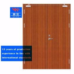 Incombustible empotrado de madera maciza puertas Fire-Rated doble para el Hospital (FD-VN-02)