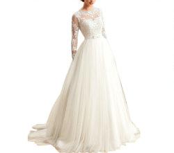 Manga Larga de encaje una línea apliques de trajes de novia vestido de novia