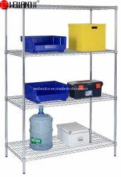 NSF & BSCI Certificat 4 niveaux réglables en acier robuste commerciale de l'entrepôt de stockage du fret sur le fil étagère de rack