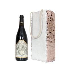 ローズの金のスパンコールの戦闘状況表示板のワインの袖の昇華綿のリネンワイン袋