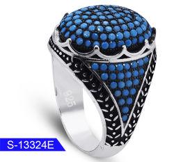 Оптовая торговля новой модели мода украшения 925 серебристые Micro бирюза камень кольца для мужчин
