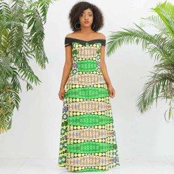 전통 아프리카 여성 맥시 오프 숄더 튜브 이브닝 드레스