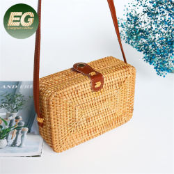 Schulter-Rattan-Stroh-Handtasche T120 der Sommer-böhmische Art-Strand-Korb-Handtaschen-Vierecks-Dame-Crossbody
