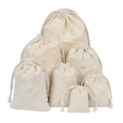 Commerce de gros de la mousseline de coton écologique Sac à cordonnet, réutilisables Sac avec lacet de serrage pour le riz organique