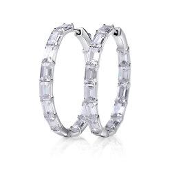 粋な925純銀製のダイヤモンドの宝石類の環状の形のイヤリング