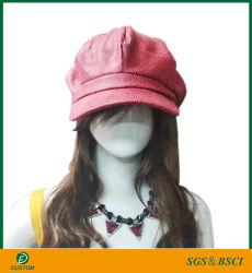 Оптовая торговля Леди Newsboy восьмиугольный с рельефным кирпич из натуральной кожи 8 панели береты Red Hat