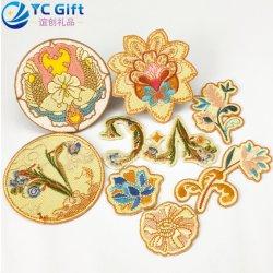 수를 놓은 의류 자수 꽃 패치 열전달 의복 부속품 Handmade 아플리케에 중국 주문 철은 공급 PU 가죽 레이블의 명찰을 단다