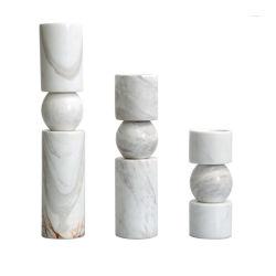 Volakasの白い大理石の蝋燭ホールダー贅沢な大理石の現代シリンダーロウソク