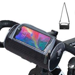 Sac imperméable vélo&réglable Bandoulière amovible Bike Frame Sac avec pochette transparente Vélo guidon sac d'écran tactile