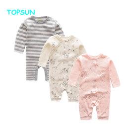 Tejido de algodón orgánico del recién nacido bebé Rompers impreso al por mayor ropa de bebé