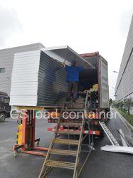 たたかれた容器は工場でヨーロッパの市場、折られた容器の家を提供するためにロードを収容する