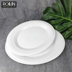 خزف متحمّل بيضاء لوحات بيضويّة يخدم لوحات لأنّ مطاعم