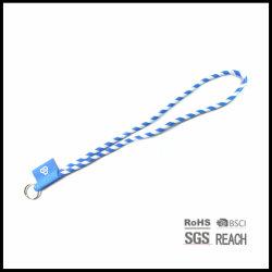 Kundenspezifisches Firmenzeichen-Polyester gesponnene Zeichenkette-Stutzen-Brücke-Abzuglinie mit Schlüsselring und gesponnener Kennsatz