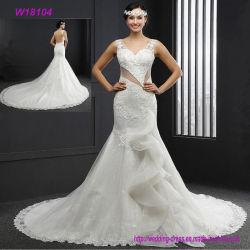Сексуальные открытые назад шнуруют отбортовали a - линию с платьем венчания красивейшего поезда белым