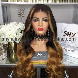 100% волос человека два тона цвет выделения кружева передней Wig длинных волн