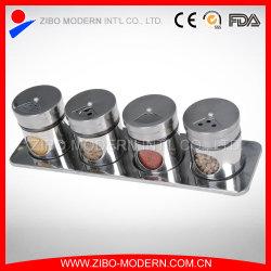 Großverkauf 4 PCS-Edelstahl-Gewürz-Glas-Zahnstange