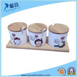 Combinação de cerâmica em branco o tempero Pot para impressão de calor