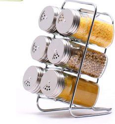 Bottiglia di vetro del condimento dell'acciaio inossidabile per il supporto di vetro della cremagliera della cucina del vaso della spezia dei condimenti di memoria