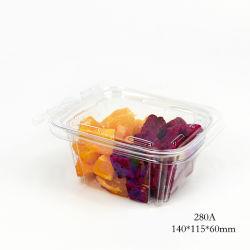 Pet plástico claro de frutas alimentos envases con tapa con bisagras