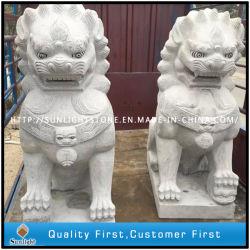 Pedra Mármore Granito Lion escultura para a estátua de animais de jardim