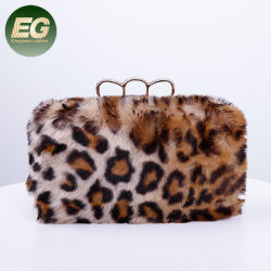 Nouvelle Mode Leopard sac à main de la fourrure de laine 2019 Femmes mariage élégant sacs d'embrayage de Lady EB1048