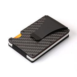 RFID che ostruisce il raccoglitore reale della fibra del carbonio della clip dei soldi del supporto di scheda della fibra del carbonio