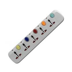 5 voies de cordon d'extension Multi socket socket avec interrupteur colorés indépendants et de la lumière de l'alimentation prise d'extension (215AA)